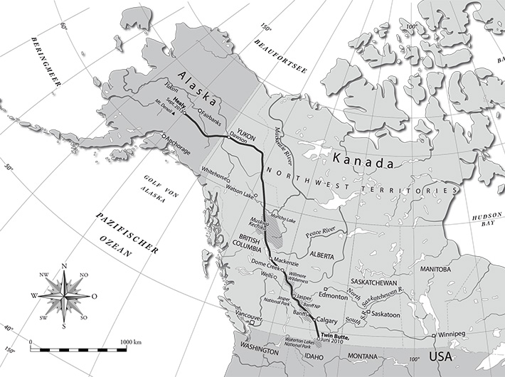 Map of Canada and Alaska
