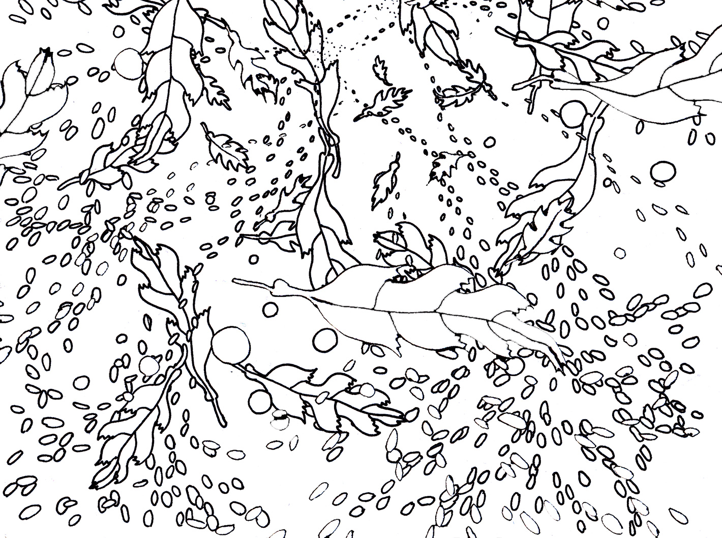 Autumn foliage and snow, repeat pattern in black and white